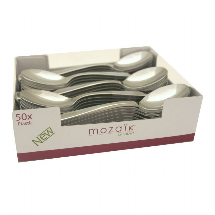50 x Metallic Silver Plastic SPOONS - Luxury Strong Disposable Cutlery - Mozaik by Sabert